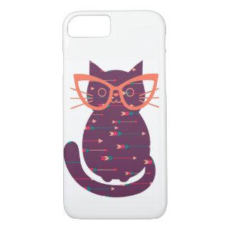 Funda Para iPhone 8/7 Gato con la caja del teléfono de los vidrios