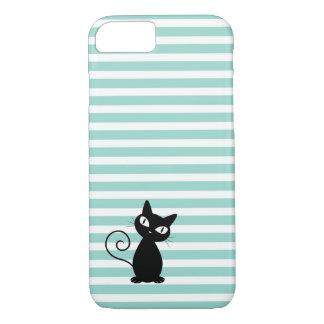 Funda Para iPhone 8/7 Gato negro caprichoso lindo en rayas