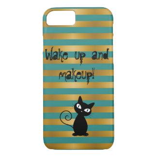 Funda Para iPhone 8/7 Gato negro caprichoso, Rayado-Estela ascendente y