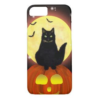 Funda Para iPhone 8/7 Gato negro de Halloween en la calabaza