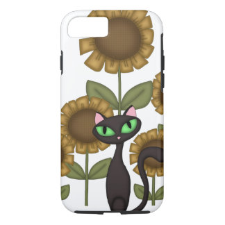 Funda Para iPhone 8/7 Gato negro del girasol