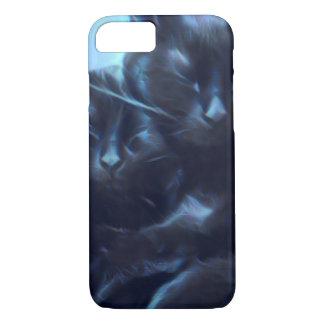 Funda Para iPhone 8/7 Gatos negros el dormir, azul/negro