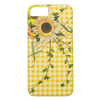 Funda Para iPhone 8/7 girasoles e insecto de la señora en ginham