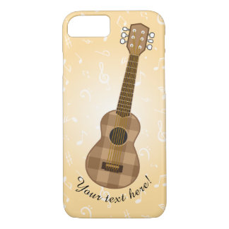 Funda Para iPhone 8/7 Gráfico a cuadros lindo de la guitarra de Brown