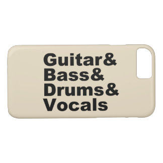 Funda Para iPhone 8/7 Guitar&Bass&Drums&Vocals (negro)