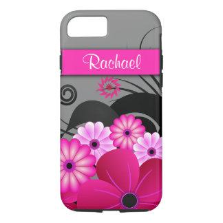 Funda Para iPhone 8/7 Hibisco floral rosado y gris fucsia de moda duro