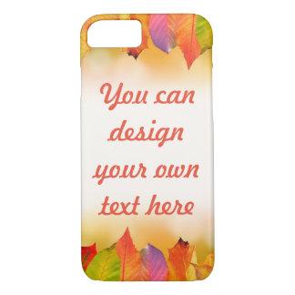 Funda Para iPhone 8/7 Hojas de otoño vibrantes con el texto adaptable
