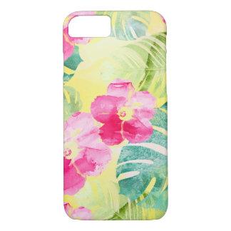 Funda Para iPhone 8/7 Hojas del plátano y flores tropicales del hibisco