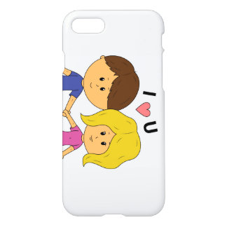 Funda Para iPhone 8/7 I pares de Luv U Chibi - diseño horizontal