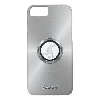 Funda Para iPhone 8/7 Jugador de fútbol metálico de plata con su