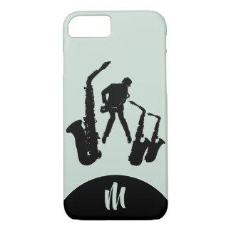 Funda Para iPhone 8/7 L caso de Iphone del monograma del saxofonista del