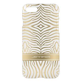Funda Para iPhone 8/7 La cebra moderna del oro raya el fondo blanco