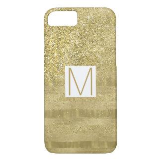 Funda Para iPhone 8/7 La chispa atractiva del oro raya el monograma