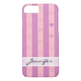 Funda Para iPhone 8/7 La púrpura rosada elegante raya el modelo moderno
