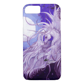 Funda Para iPhone 8/7 Luna coa alas unicornio negro de Pegaso del ángel