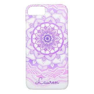 Funda Para iPhone 8/7 Mandala bohemia tribal que dibuja púrpura elegante