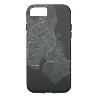 Funda Para iPhone 8/7 Mapa de Copenhague, Dinamarca. (Blanco en negro)
