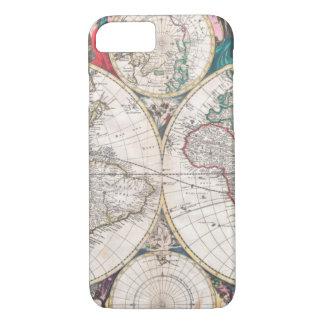 Funda Para iPhone 8/7 Mapa del mundo antiguo del Doble-Hemisferio