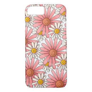 Funda Para iPhone 8/7 Margaritas rosadas femeninas y margaritas blancas