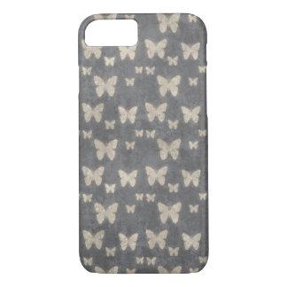 Funda Para iPhone 8/7 Mariposas, insectos - gris, amarillo de la cáscara