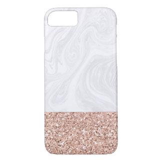 Funda Para iPhone 8/7 Mármol blanco sumergido en falso purpurina color