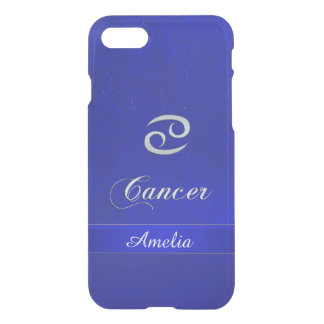Funda Para iPhone 8/7 Mirada de cuero azul del cáncer de la muestra del