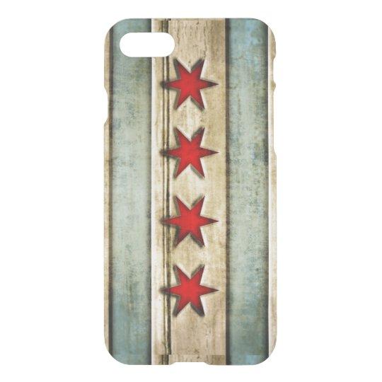 Funda Para iPhone 8/7 Mirada de madera apenada bandera de Chicago del