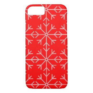 Funda Para iPhone 8/7 Modelo del copo de nieve - rojo y blanco