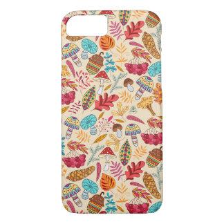 Funda Para iPhone 8/7 Modelo del otoño con las hojas, setas, bellotas