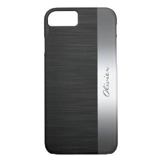 Funda Para iPhone 8/7 modelo negro del acero inoxidable con nombre