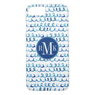Funda Para iPhone 8/7 Modelo ondulado de la acuarela azul pintada a mano