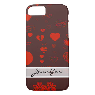 Funda Para iPhone 8/7 Modelo rojo moderno elegante del corazón
