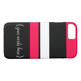 Funda Para iPhone 8/7 Modifique la caja rayada rosada y negra él para