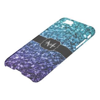 Funda Para iPhone 8/7 Monograma azul de las chispas del purpurina de