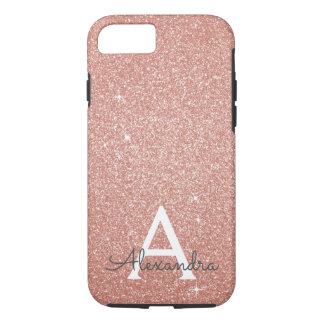 Funda Para iPhone 8/7 Monograma color de rosa rosado del purpurina y de