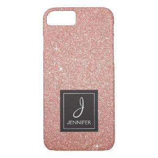 Funda Para iPhone 8/7 Monograma color de rosa rosado del purpurina y de