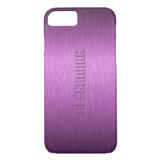 Funda Para iPhone 8/7 Monograma de aluminio cepillado metálico púrpura