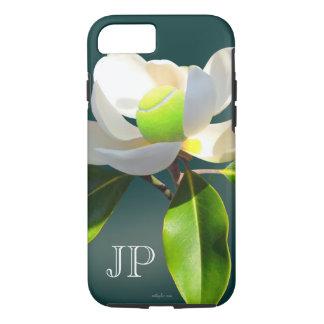 Funda Para iPhone 8/7 Monograma de la flor de la magnolia del tenis