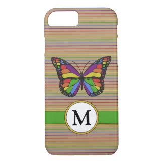 Funda Para iPhone 8/7 Monograma de las telas a rayas de la mariposa del