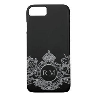 Funda Para iPhone 8/7 Monograma de plata negro del emblema de la corona