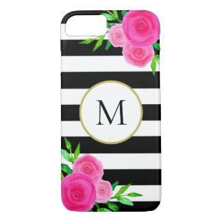 Funda Para iPhone 8/7 Monograma floral de la acuarela rayada blanca