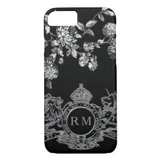 Funda Para iPhone 8/7 Monograma floral del león del emblema de plata