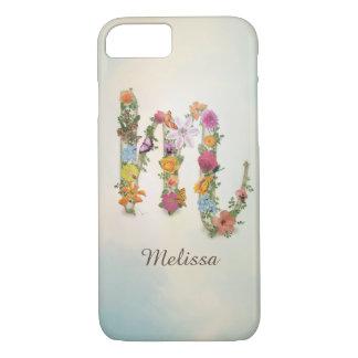 Funda Para iPhone 8/7 Monograma floral M, nombre de encargo, letra M