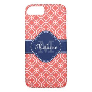 Funda Para iPhone 8/7 Monograma marroquí blanco rosado coralino de la