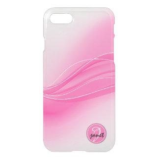 Funda Para iPhone 8/7 Monograma moderno rosado de las ondas del caramelo
