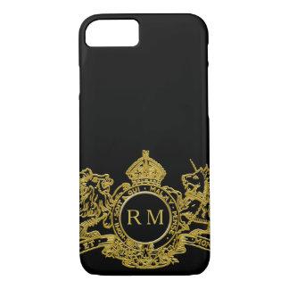 Funda Para iPhone 8/7 Monograma negro del emblema de la corona del