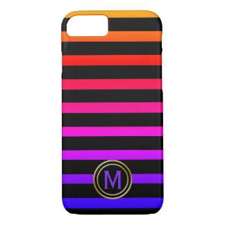 Funda Para iPhone 8/7 Monograma negro y multi de la raya del color