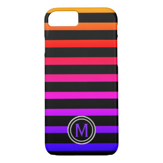Funda Para iPhone 8/7 Monograma negro y multi de la raya del color