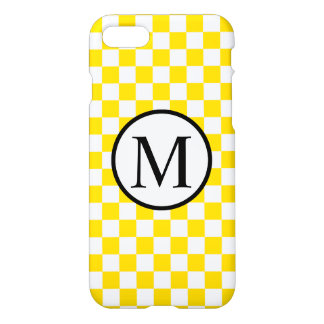 Funda Para iPhone 8/7 Monograma simple con el tablero de damas amarillo