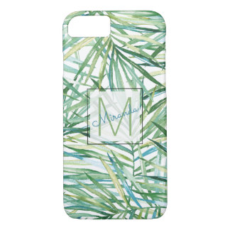 Funda Para iPhone 8/7 Monograma tropical de la acuarela de las hojas